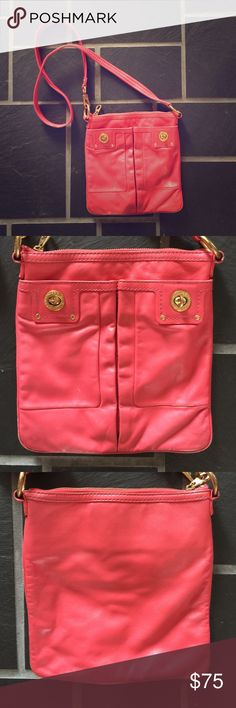 Marc Jacobs totally turn clock cross body bag pink Marc Jacobs totally turn clock cross body bag pink. It shows wear on the outside with scuff marks on the corns and on the front and back. Shows some dirt on the fabric on the inside. Scuff marks on metal details. Pink in color. Gold findings. It is still a beautiful bag with lots of life in it. Leave me a comment if you have more questions or would like more images. Thanks for looking! 🙂 Marc by Marc Jacobs Bags Crossbody Bags