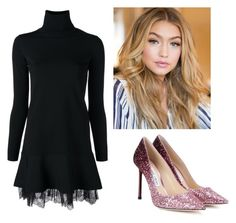 """""""Pink glitter"""" by saradiamondlovee ❤ liked on Polyvore featuring Valentino and Jimmy Choo"""