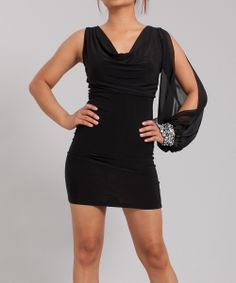 Black Embellished Cuff Asymmetrical Dress