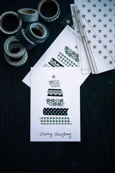 Christmas cards made with various decorative tapes - adorable