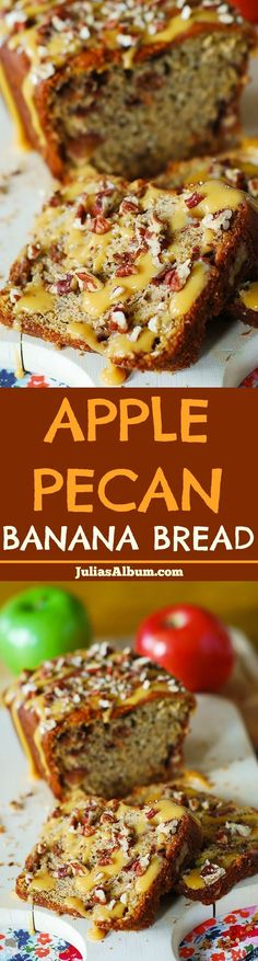 THIS RECIPE uses of + 2 Ripe . and CARAMEL as a Topping ♦ Apple Pecan Banana Bread with caramel sauce - perfect Thanksgiving dessert or a breakfast recipe! Fruit Bread, Apple Bread, Dessert Bread, Apple Recipes, Banana Bread Recipes, Sweet Recipes, Apple Desserts, Fruit Recipes, Scones