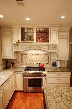 Ashburn Kitchen - glass tile and travertine backsplash