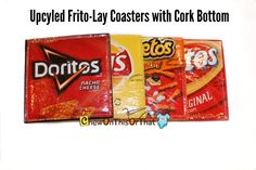 New to ChewOnThisOrThat on Etsy: Upcycled Recycled Frito-Lays Variety Coaster Set with Cork Bottom - Cheetos Doritos Lays and Fritos Mug Rug Beer Mat Potato Chip Bags (20.00 USD)