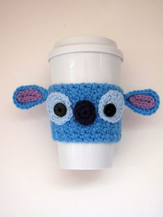 Crochet Patterns Stitches Free Crochet Stitch Coffee Cup cozy pattern by The Enchanted Ladybug Crochet Coffee Cozy, Crochet Cozy, Crochet Gifts, Crochet Stitches Free, Stitch Crochet, Free Crochet, Crochet Pikachu, Crochet Ladybug, Stitch Disney