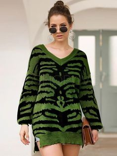 Printed Slit Long Sleeve V-neck Sweater Loose Sweater, Long Sleeve Sweater, Color Khaki, Casual Sweaters, Cardigans For Women, Sleeve Styles, V Neck, Clothes For Women, Winter Tops
