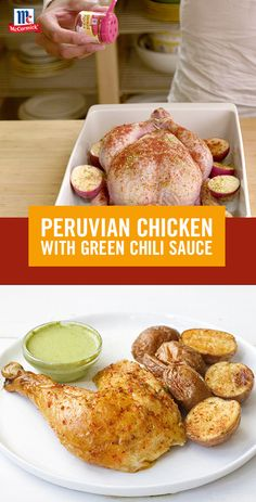 Taste the flavors of Peru with this simple roasted chicken recipe. Serve with a delicious green chili sauce for a delicious and easy weeknight meal. Turkey Recipes, Mexican Food Recipes, Chicken Recipes, I Love Food, Good Food, Yummy Food, Tasty, Enchiladas, Peruvian Recipes