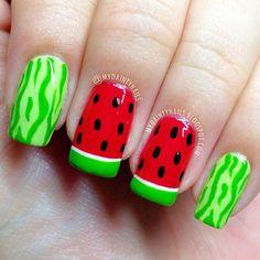 Watermelon nails Instagram photo by mydaintynails