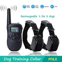 Wish | Rechargeable Remote Dog Shock Vibration Training Collars for 2 dogs (Color: Black)