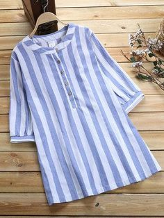 Women Stripe Half Sleeve Stand Collar Shirt look not only special, but also they always show ladies' glamour perfectly and bring surprise. Simple Pakistani Dresses, Pakistani Fashion Casual, Stand Collar Shirt, Collar Shirts, Half Sleeve Shirts, Half Sleeves, Dress Shirts For Women, Clothes For Women, Kurta Neck Design