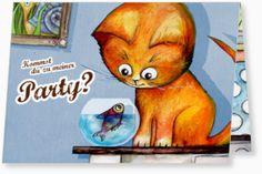Kindergeburtstag Einladungen - Die kleine Katze möchte feiern
