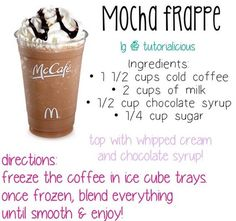 how to make a starbucks double chocolate chip frappuccino Starbucks Secret Menu, Starbucks Drinks, Starbucks Coffee, Mcdonalds Coffee, Mcdonalds Breakfast, Mocha Coffee, Coffee Drink Recipes, Healthy Iced Coffee, Cold Coffee Drinks