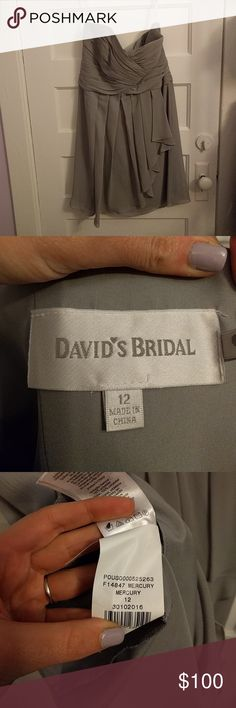 Strapless Mercury Davids Bridal dress 12 This is strapless dress from David's Bridal, worn once! The color is called Mercury, a soft gray. David's Bridal Dresses Wedding
