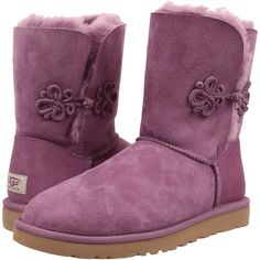 UGG Bailey Mariko Women's Boots, Purple ($143) ❤ liked on Polyvore featuring shoes, boots, ankle boots, purple, low heel boots, purple ankle boots, purple boots, faux boots e bootie shoes