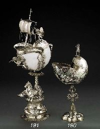 A German silver-mounted nautilus cup