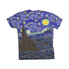 """ArtsyClothingCo-""""Van Gogh The Starry Night"""" (1889 Crew Neck T-Shirt ($25) ❤ liked on Polyvore featuring tops, t-shirts, shirts, tees, star shirt, crew neck tee, crew neck shirt, crew neck top and blue top"""