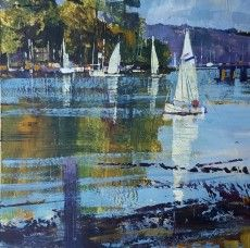 Chris Forsey Sails and Reflections Dittisham 12x12