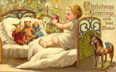 Antique Toys on Free Vintage Christmas Cards