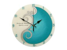 Items similar to Personalized Wedding Gift, Modern Hand Painted Glass Wall Clock, Turquiose and Silver Home Decor, Teal Wall Decor on Etsy Teal Wall Decor, Glass Painting Patterns, Clock For Kids, Thing 1, Teal Walls, Personalized Wedding Gifts, Everyday Objects, Beautiful Wall, Wall Clocks