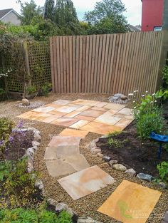 Beautiful Sandstone Patio with Curved Earthy Wooden Backbone - Tom Leavy Design, Leavy Landscaping. Landscape Design, Garden Design, Ireland Landscape, Family Garden, Garden Landscaping, Earthy, Stepping Stones, Construction, Outdoor Decor