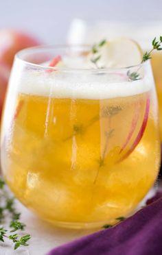 Close up photo of honeycrisp bourbon cocktails