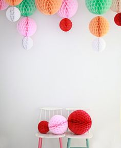 Honeycomb paper balls seen on Lottie Loves Tissue Paper Ball, Paper Pom Poms, Paper Balls, Tissue Balls, Paper Garlands, Honeycomb Paper, Ball Decorations, Birthday Decorations, Paper Crafts
