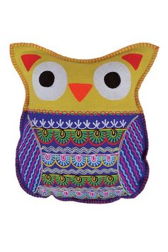 "Everyday Bohemian Chic Living  Felt Owl Cushion - 12"" x 20"""