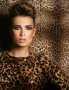 leopard print materials and lovely nude make-up