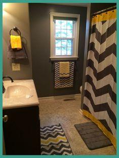 Yellow and gray bathroom decor yellow gray bath gray chevron bathroom chevron bedroom decor yellow bathroom . Yellow Bathroom Decor, Yellow Bathrooms, Small Bathrooms, Bathrooms Decor, Narrow Bathroom, Bathroom Paint Colors, Bathroom Interior, Ideas Baños, Decor Ideas