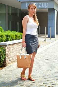 Embelisshed top, wrap skirt, golden sandals & Silis tote and bracelets [Window On My Wardrobe]