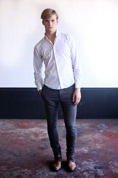 Plain white shirt with dark jeans. Always good.