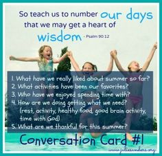 2 FREE Conversation Card DOWNLOADABLES at The M.O.M. Initiative by Julie Titus Sanders! Don't let the summer slip by and miss out on what is important to your family!