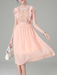Shop Midi Dresses - Orange Short Sleeve Plain Swing Crew Neck Midi Dress online…