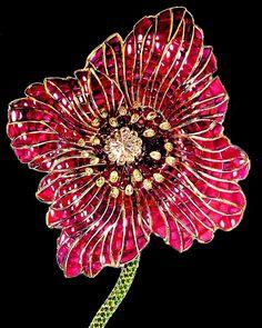 Poppy-Flower brooch by Stefan Hemmerle; rubies and diamonds.