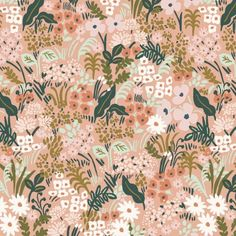Meadow in Pink, English Garden by Anna Bond of Rifle Paper Co. - Fiddlehead Artisan Supply - Meadow in Blue, English Garden by Anna Bond of Rifle Paper Co. Anna Bond, Anna Rifle Bond, Spot Illustration, Illustrations, Toddler Pillowcase, Motifs Textiles, Posca Art, Floral Bedding, Neutral Bedding