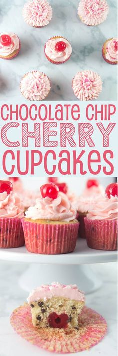 Chocolate Chip Cherry Cupcakes: vanilla-speckled cupcakes studded with mini chocolate chips and a pile of fluffy cherry buttercream.  Top with a cherry - or bake one right inside! {Bunsen Burner Bakery} https://ooh.li/13f7f82 #ad #10000cupcakes #Cookforth