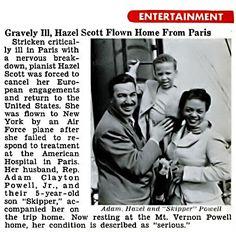 Gravely Ill Hazel Scott Flown Home from Paris - Jet Magazine, October 16, 1952