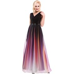 Prom+/+Formal+Evening+Dress+Ball+Gown+V-neck+Floor-length+Chiffon+/+Charmeuse+with+Beading+/+Draping+/+Lace+/+Sash+/+Ribbon+/+Side+Draping+–+USD+$+71.99