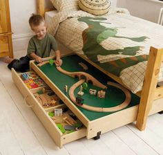 Oooo! We could keep the bedroom floor clear by rolling the tracks under the bed!