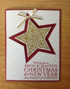 Stampin Up handmade Christmas card - Red and gold christmas star