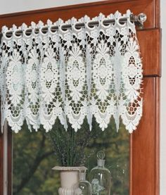 This Victoria Lace Valance is from Heritage Lace imported from France.  There are longer versions for use as Valances or Lace Tiers