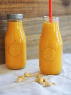 Wake up on the right side of the bed with this mood boosting turmeric  smoothie with mango, coconut and ginger! Vegan and no refined sugar.  Hello my friends! It's time for another installment of mood boosting food.  In case you missed it, last week I shared the first post of my new series,  G
