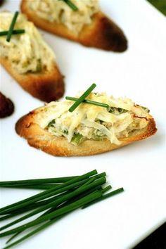 filet oscar crostini fancy little small dish filet and crab crostini ...