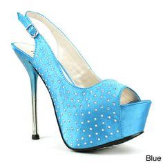 Fahrenheit Women's 'Dalena-01' Rhinestone Sling-back Pumps | Overstock.com Shopping - Great Deals on Fahrenheit Heels