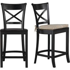 Vintner Black Barstool and Latte Stripe Cushion in Barstools   Crate and Barrel