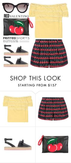 """""""Printed shorts 4"""" by jan31 ❤ liked on Polyvore featuring RED Valentino and Valentino"""