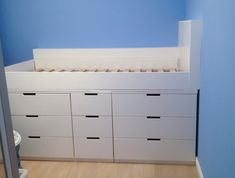Here is what the Ikea Hack Children's cabin bed looked like after we had pai. - Ikea DIY - The best IKEA hacks all in one place Ikea Childrens Beds, Childrens Cabin Beds, Ikea Kids Bed, Ikea Hack Kids, Boys Cabin Bed, Cabin Beds For Kids, Murphy-bett Ikea, Cama Ikea, Ikea Hack Bedroom