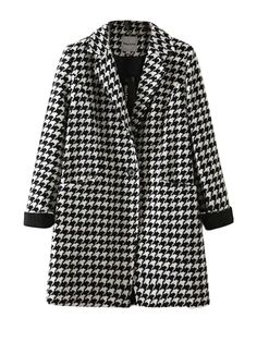 Ladies Style Notched Lapel Wool Plaid Coat