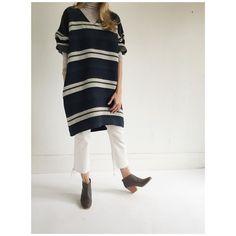 White Stripes  @horsesatelier dress  @rachel_comey slim legion pant/Mars mules by shopmille