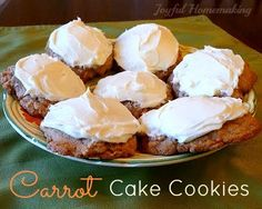 Carrot cake biscuits from a cake mix! Simple and delicious! Carrot cake biscuits from a cake mix! Simple and delicious! Cake Box Cookies, Easy Carrot Cake, Carrot Cake Cookies, Cake Mix Cookie Recipes, Easy Cake Recipes, Cookie Desserts, Dessert Recipes, Box Cake, Cake Mixes