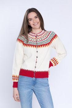 Dagens gratisoppskrift: Sonjajakken Cardigan Design, Fair Isle Knitting, Knit Crochet, Blouse, Coat, Crocheting, Cardigans, Women, Fashion